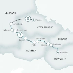 Map of itinerary Classic Prague and Danube Delights
